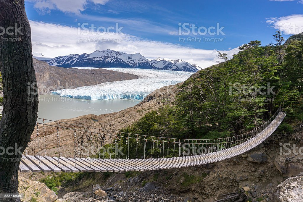 Hiking Chilean Patagonia with Glaciers stock photo