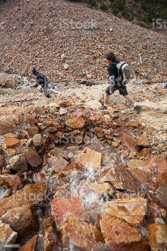 hiking couple landscape royalty-free stock photo