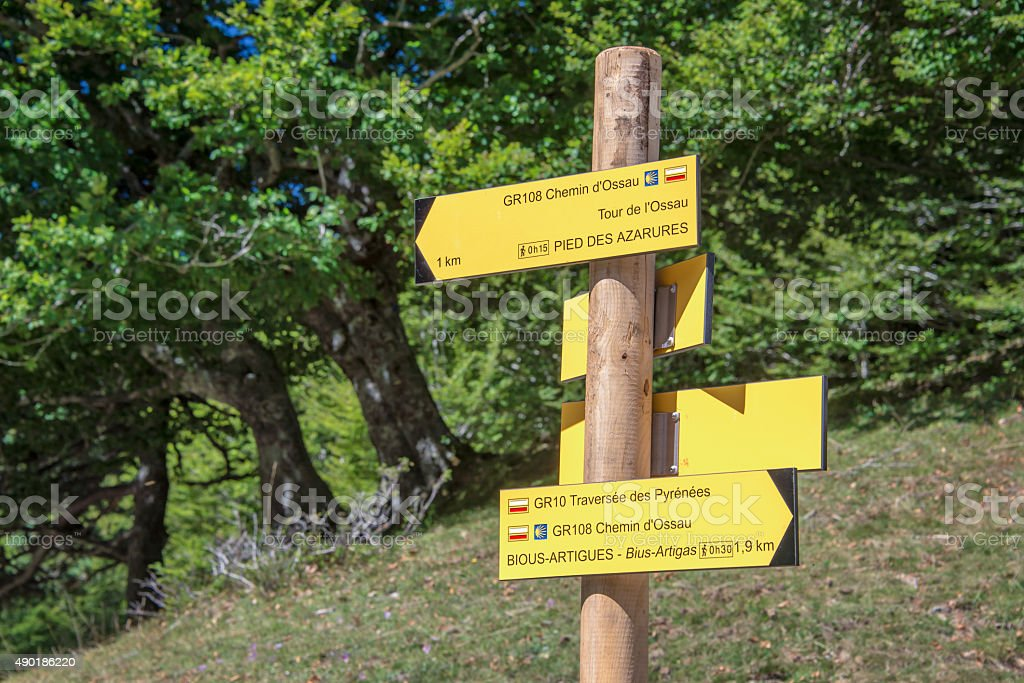Hiking direction sign, Ossau Valley, Pyrenees, France stock photo