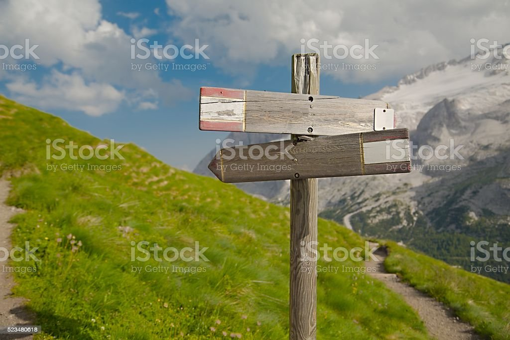 Hiking Direction Sign stock photo
