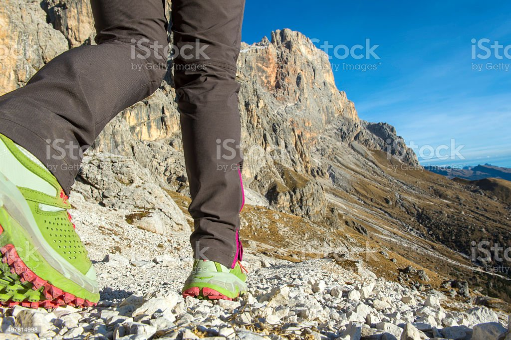 hiking dolomites stock photo