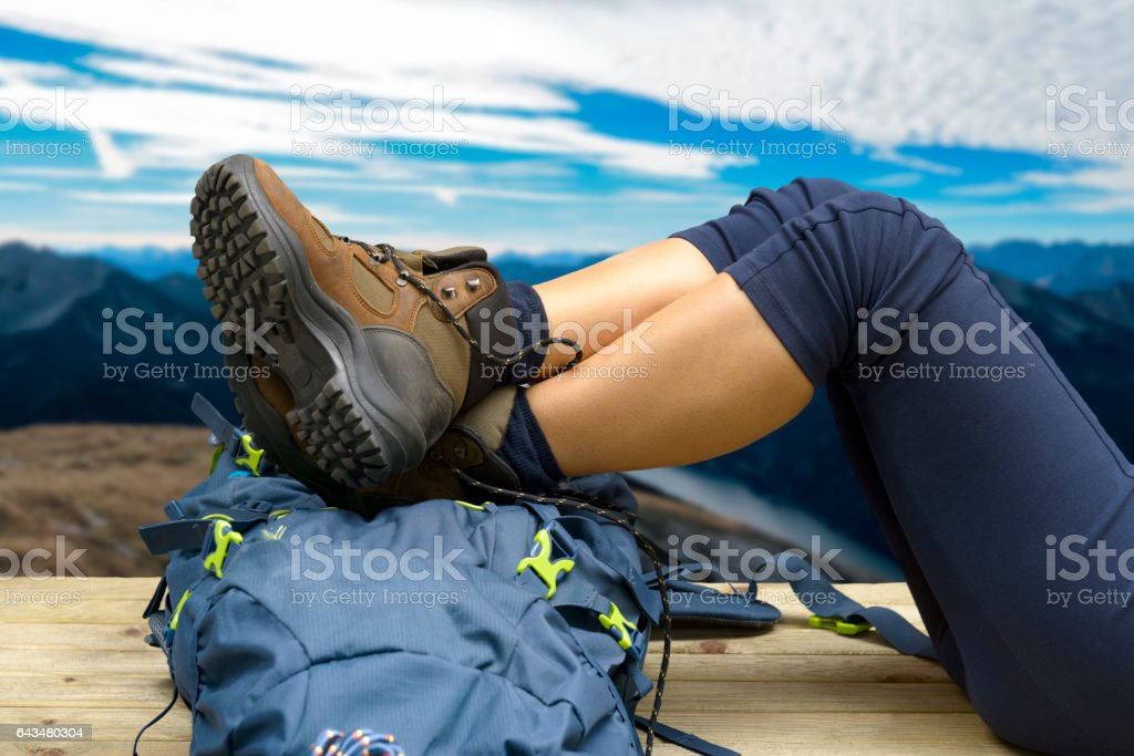 Hiking equipment, rucksack, boots and backpack. stock photo