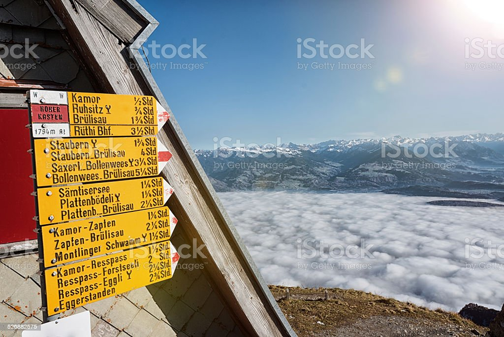 Hiking footpath sign on Mount Hoher Kasten, Switzerland stock photo