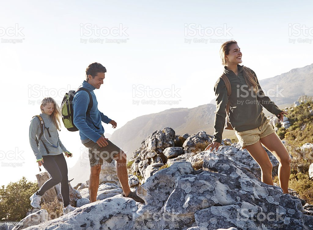 Hiking friends royalty-free stock photo