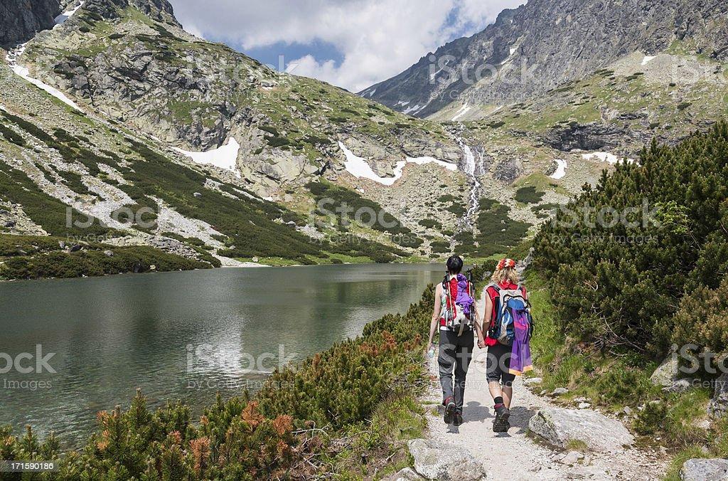 Hiking friends, Tatra Mountains stock photo