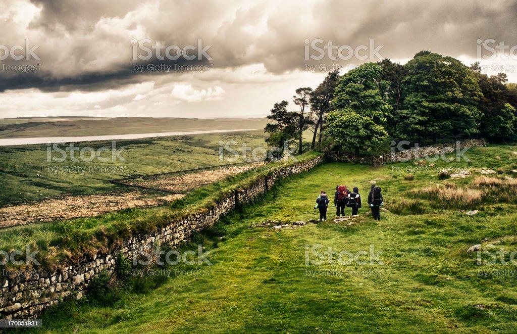 Hiking Hadrian's Wall stock photo