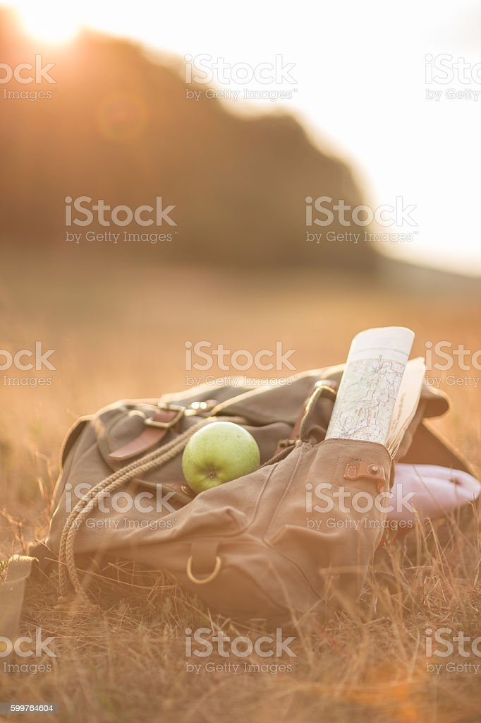 Hiking ,healthy eating and lifestyle stock photo