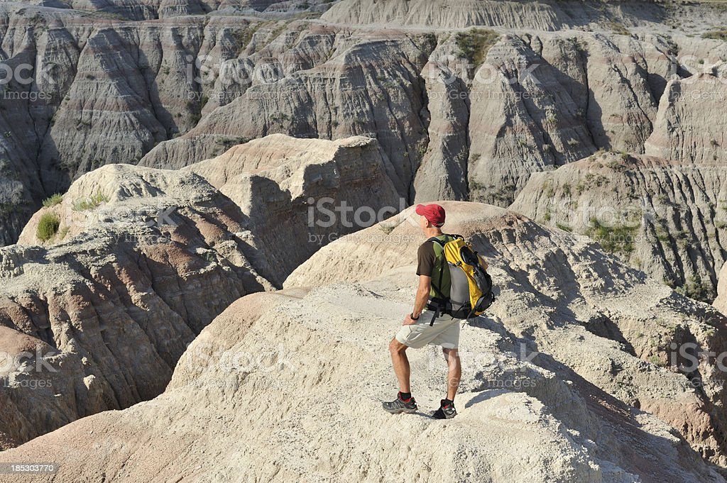 Hiking in Badlands stock photo