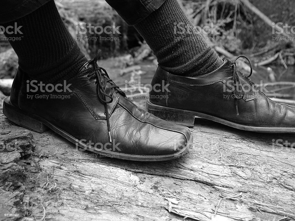 Hiking in Dress Shoes royalty-free stock photo