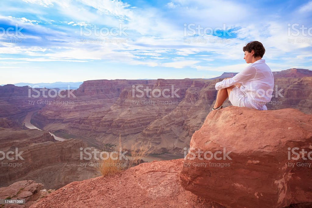 Hiking in Grand Canyon royalty-free stock photo