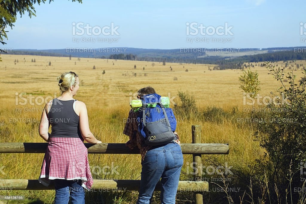 Hiking in Hautes Fagnes, Eifel stock photo