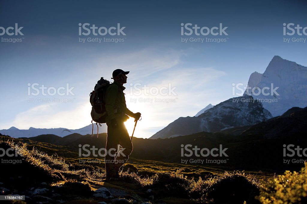 Hiking in Himalaya mountains stock photo