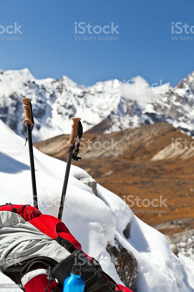 Hiking in Himalayas royalty-free stock photo