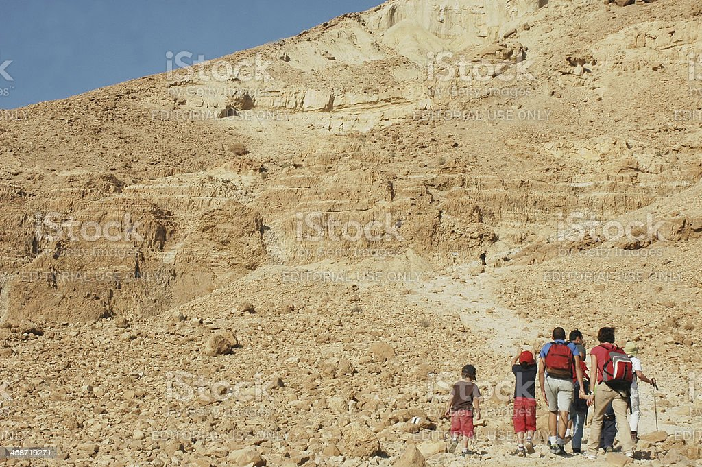 Hiking in Israel's Negev desert stock photo