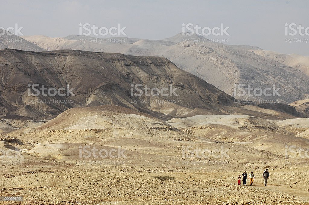 Hiking in Israel's Negev Desert royalty-free stock photo