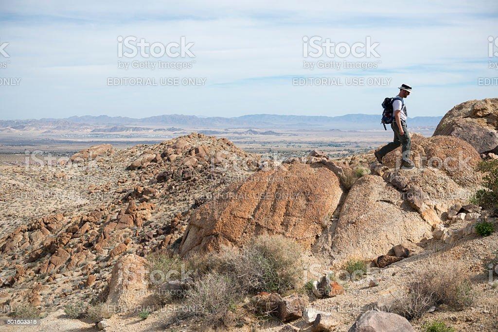 Hiking in Joshua Tree National Park stock photo
