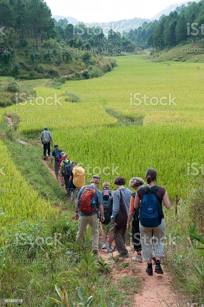 Hiking in Kalaw, Burma stock photo