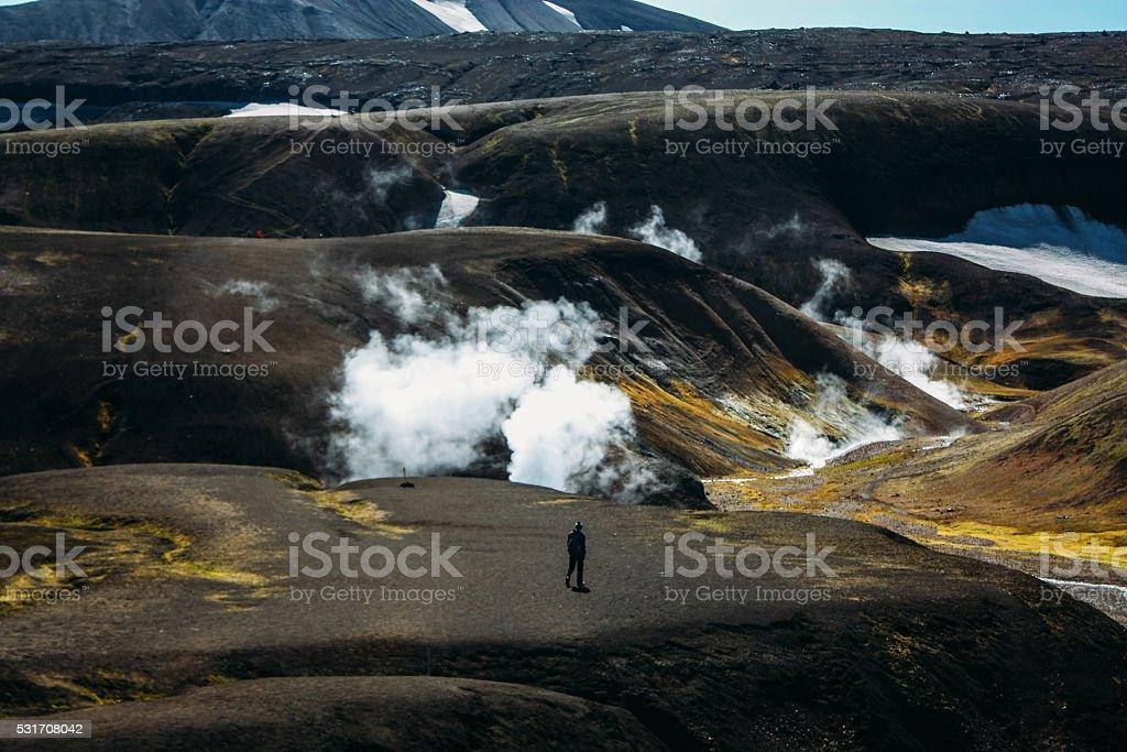 Hiking in Landmannalaugar, mountain landscape in Iceland stock photo