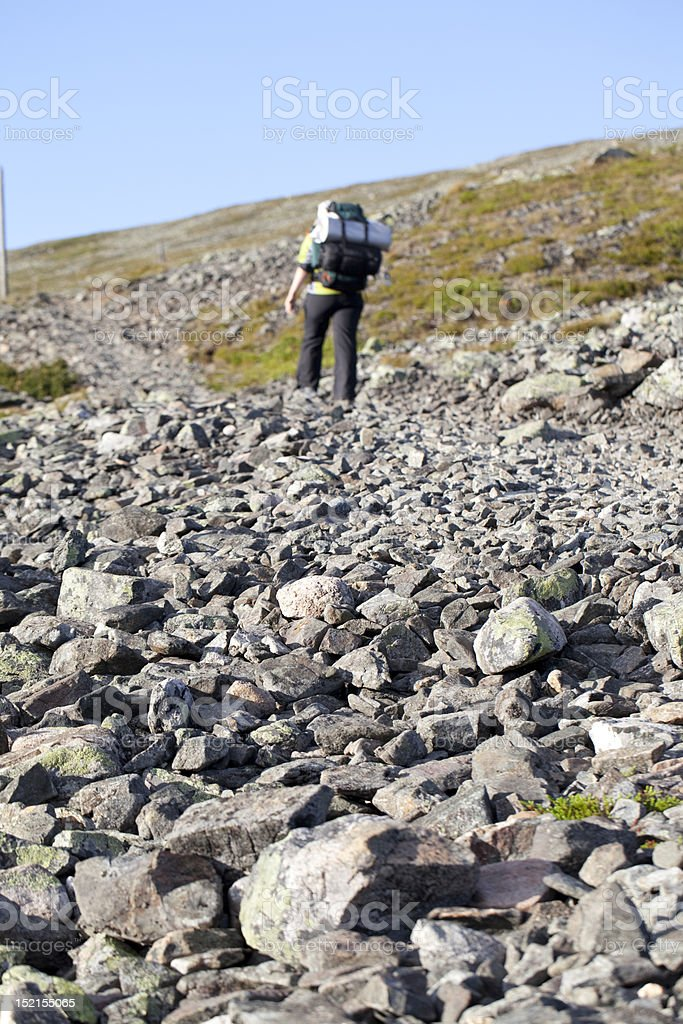 Hiking in Lapland royalty-free stock photo
