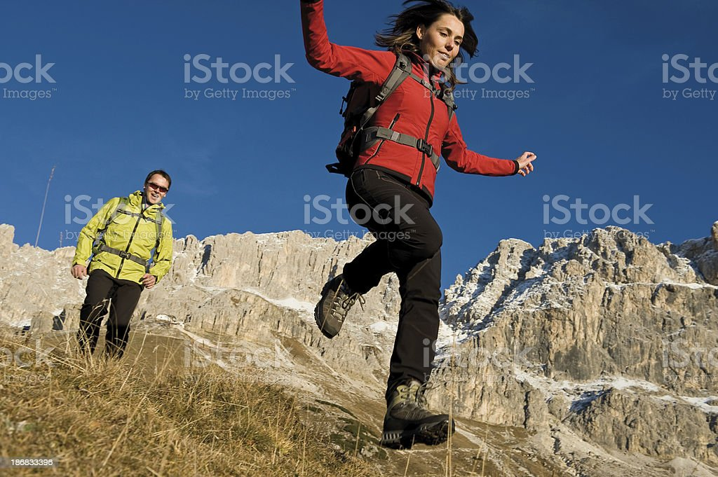 Hiking in nature with fun royalty-free stock photo
