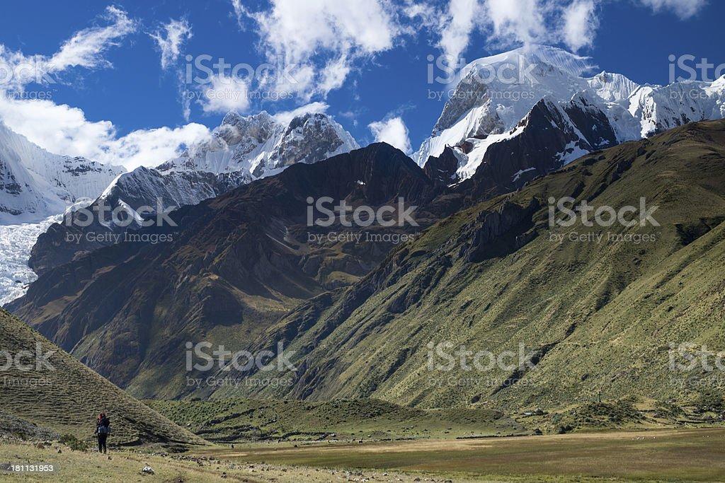 Hiking in Peru, Cordillera Huayhuash, Andes royalty-free stock photo