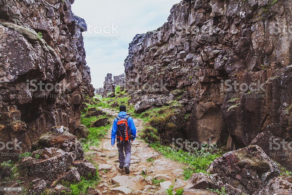 hiking in rocky canyon stock photo