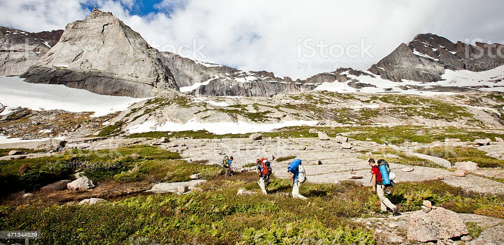 Hiking in Rocky Mountain National park stock photo