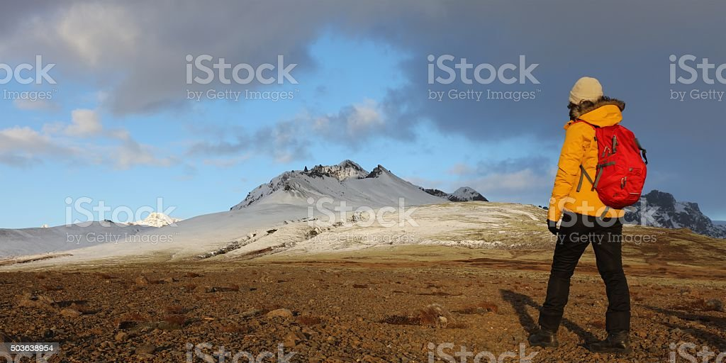 Hiking in Skaftafell National Park Iceland in Winter stock photo