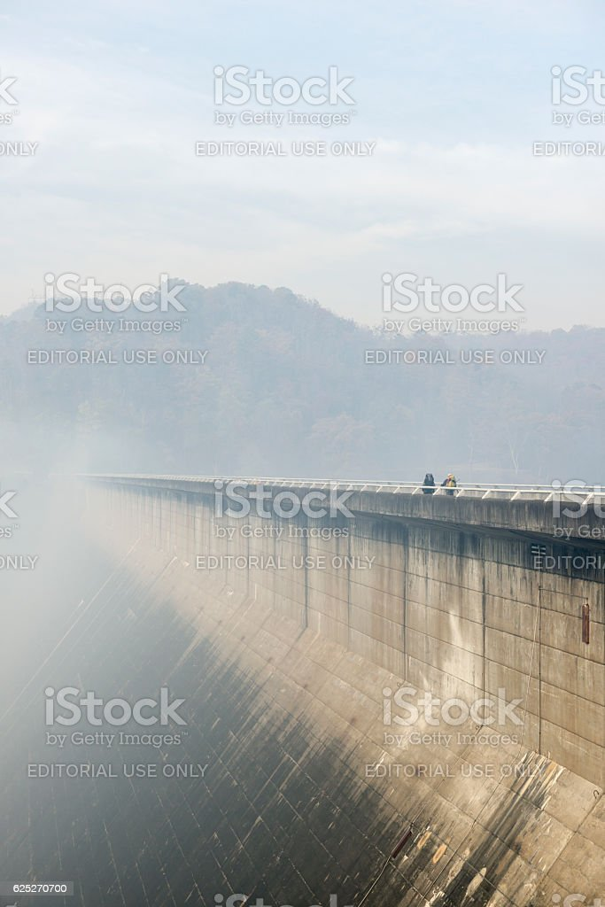 Hiking in smoke from forest fires at Fontana Dam, NC stock photo