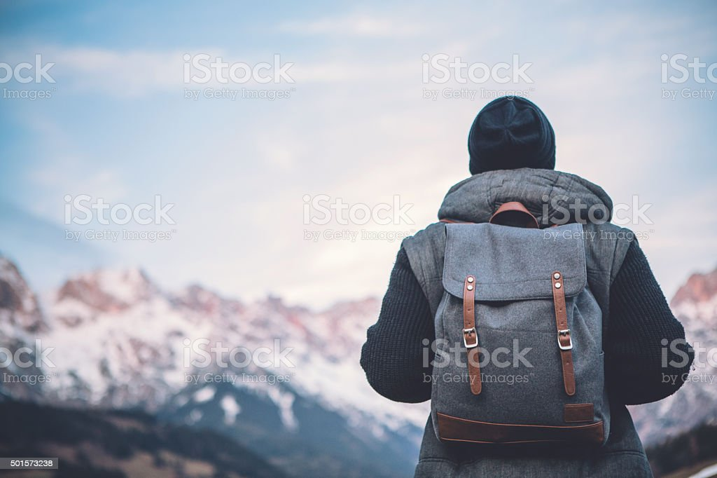 Hiking in solitude stock photo