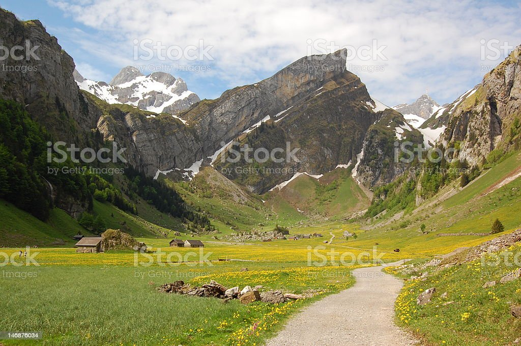 Hiking in Switzerland stock photo