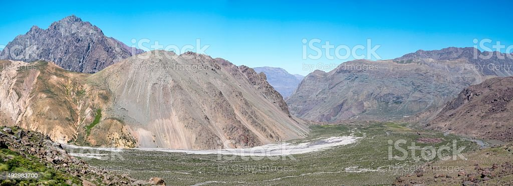 Hiking in the Andes royalty-free stock photo