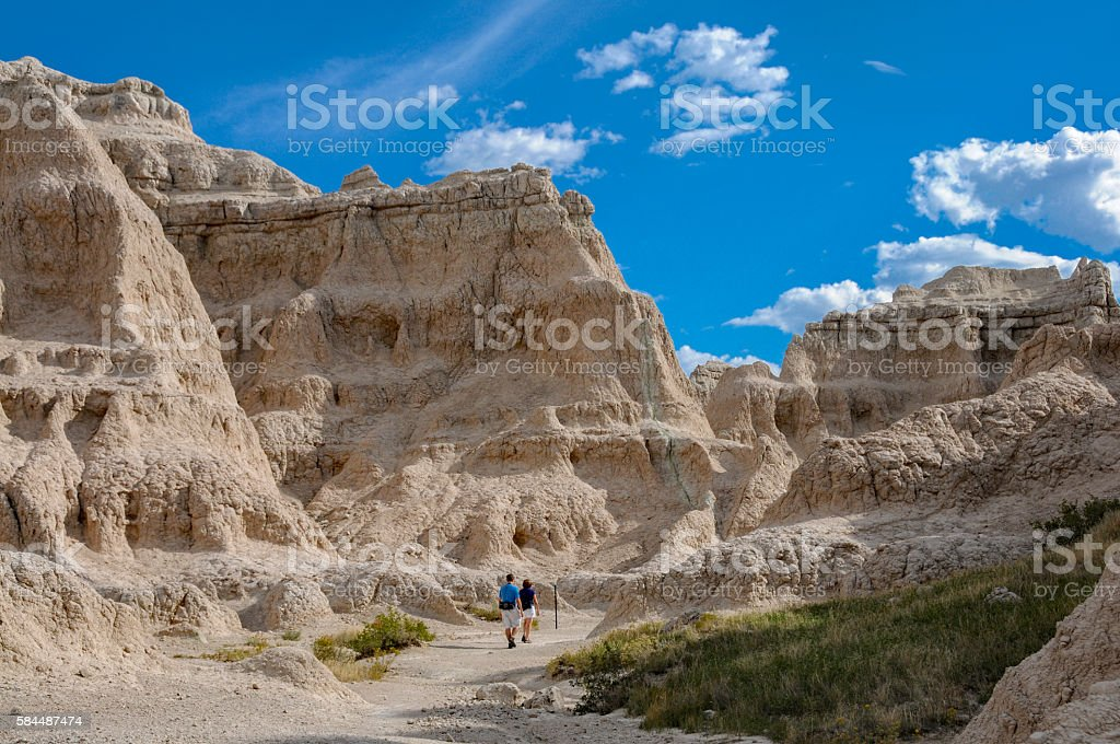 Hiking in the Badlands stock photo