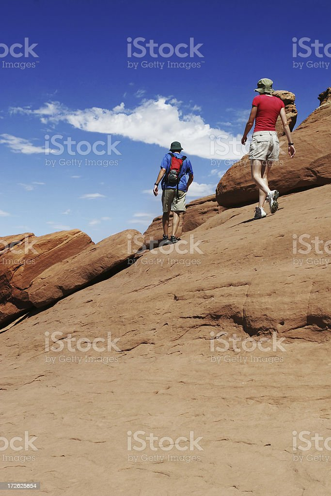 Hiking in the desert royalty-free stock photo