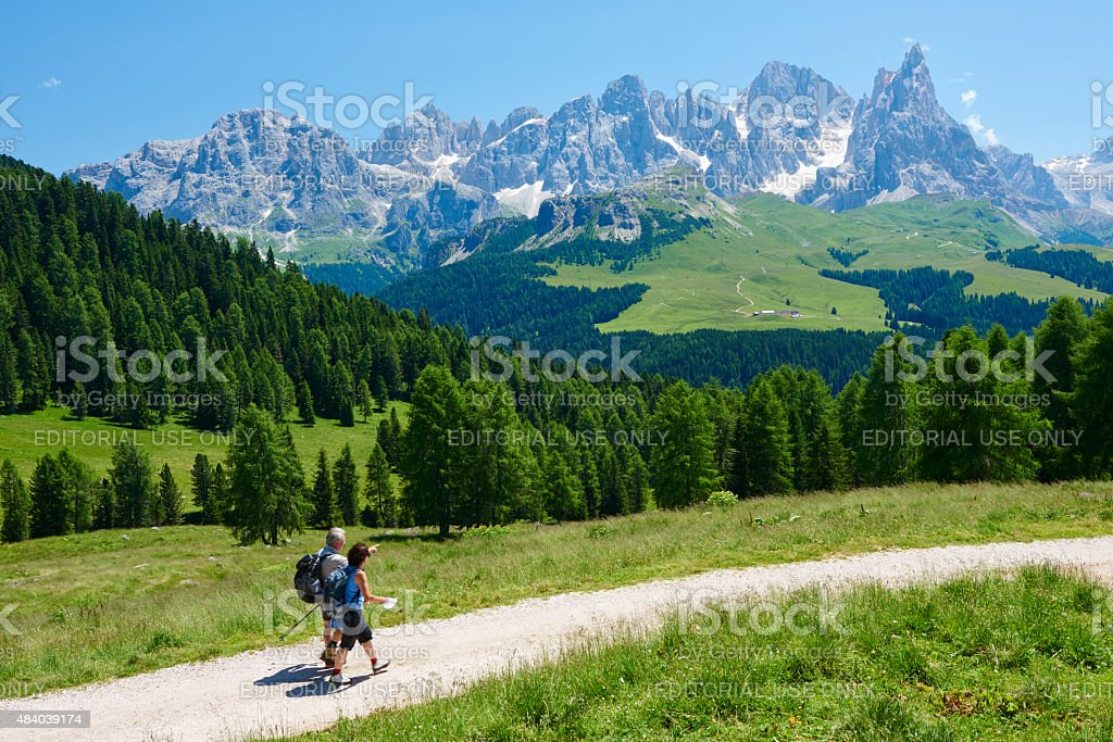 Hiking In The Dolomites stock photo