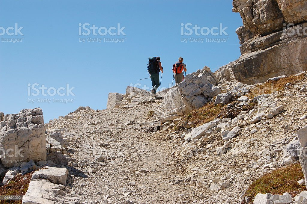 Hiking in the Dolomites royalty-free stock photo