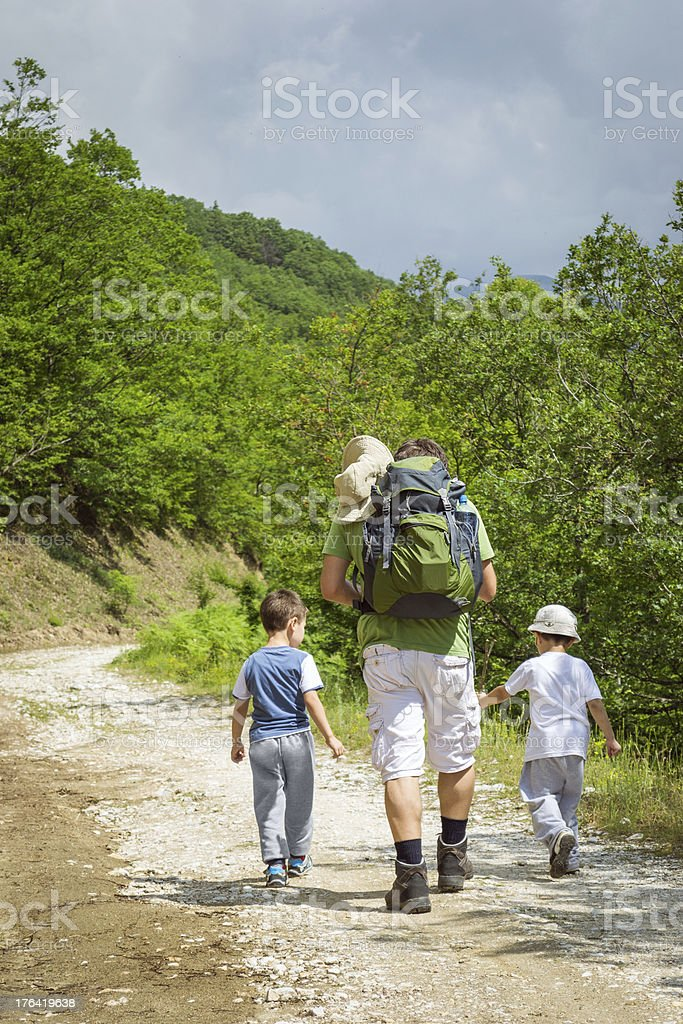 Hiking in the forest royalty-free stock photo