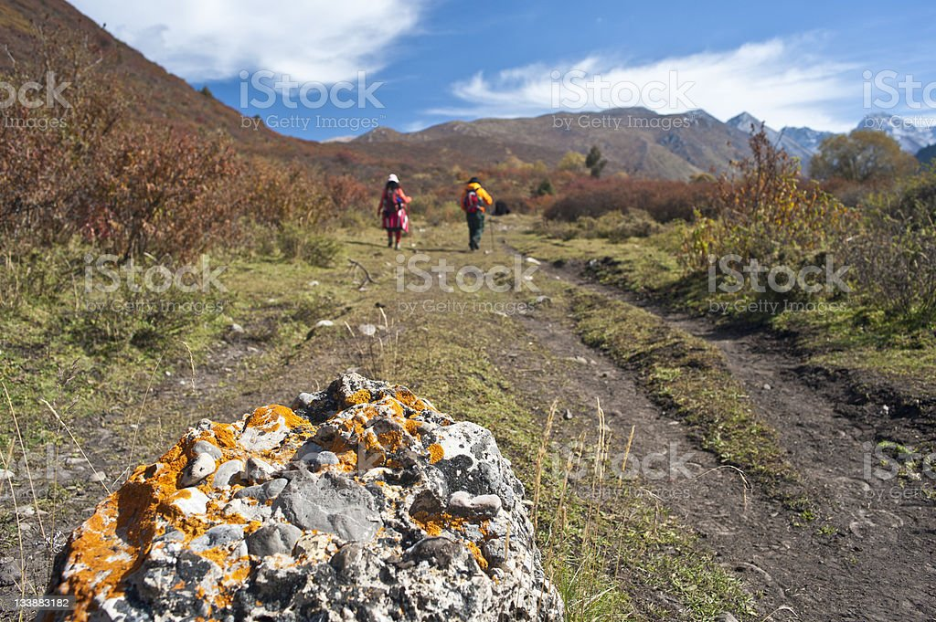 Hiking in the highlands royalty-free stock photo