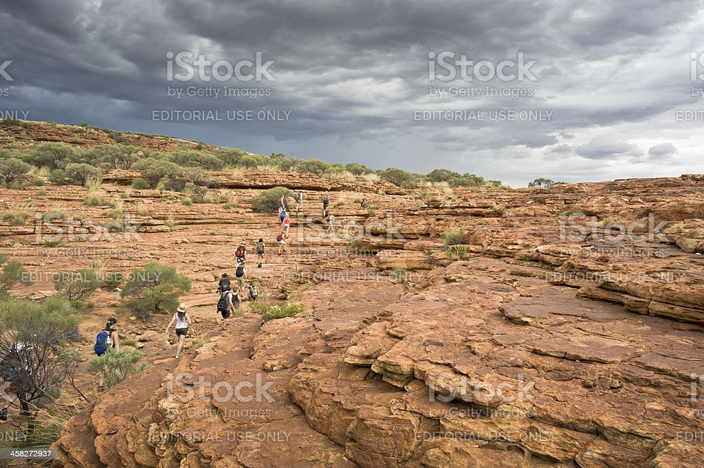 Hiking in the Kings Canyon,Northern Territory, Australia royalty-free stock photo