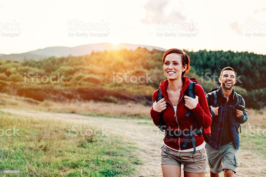Hiking in the mountain stock photo