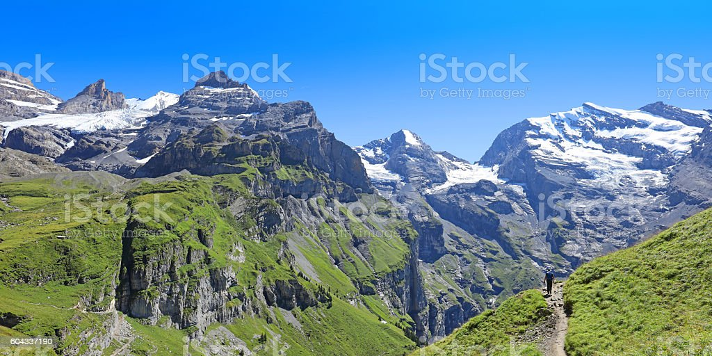 Hiking in the Mountains in Switzerland stock photo