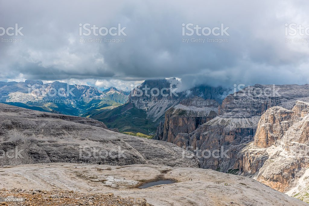 Hiking in the mountains of dolomites, italy  - Piz Boe stock photo