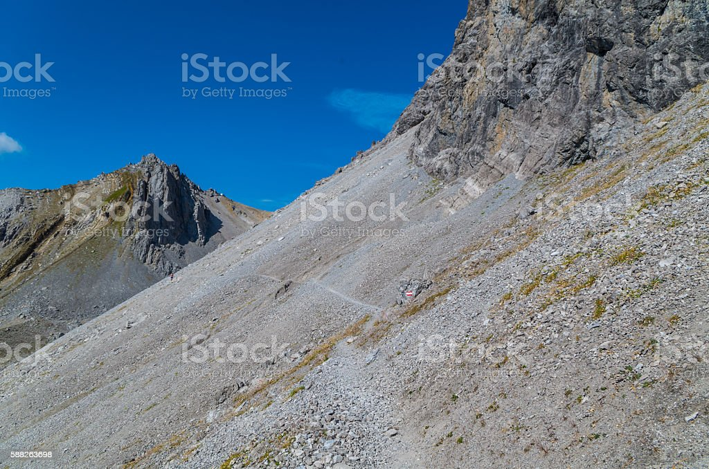 Hiking in the mountains of Lechtal Alps, North Tyrol, Austria stock photo