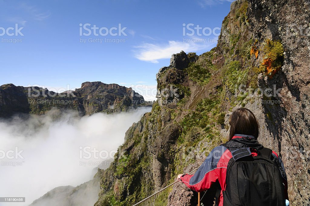Hiking in the Mountains of Madeira stock photo