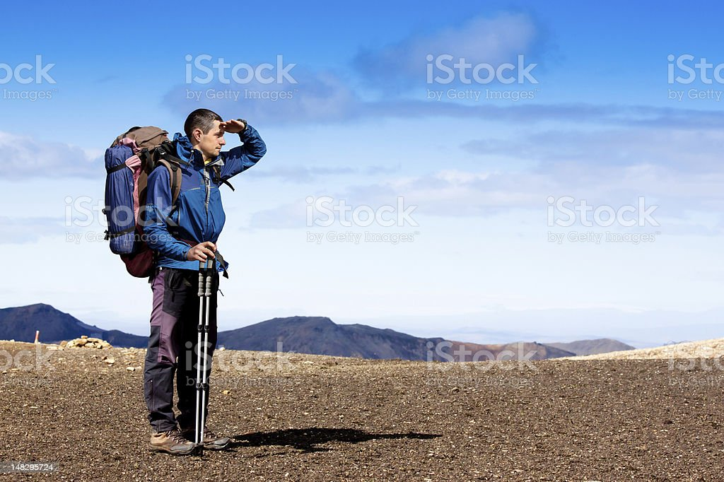 Hiking in the mountains royalty-free stock photo