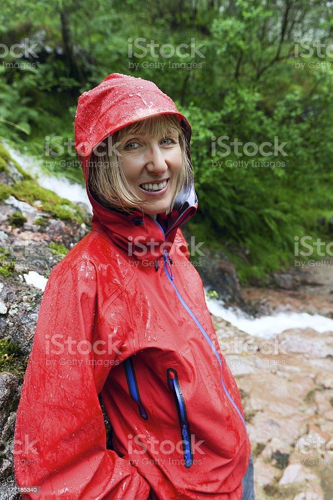 Hiking in the rain royalty-free stock photo