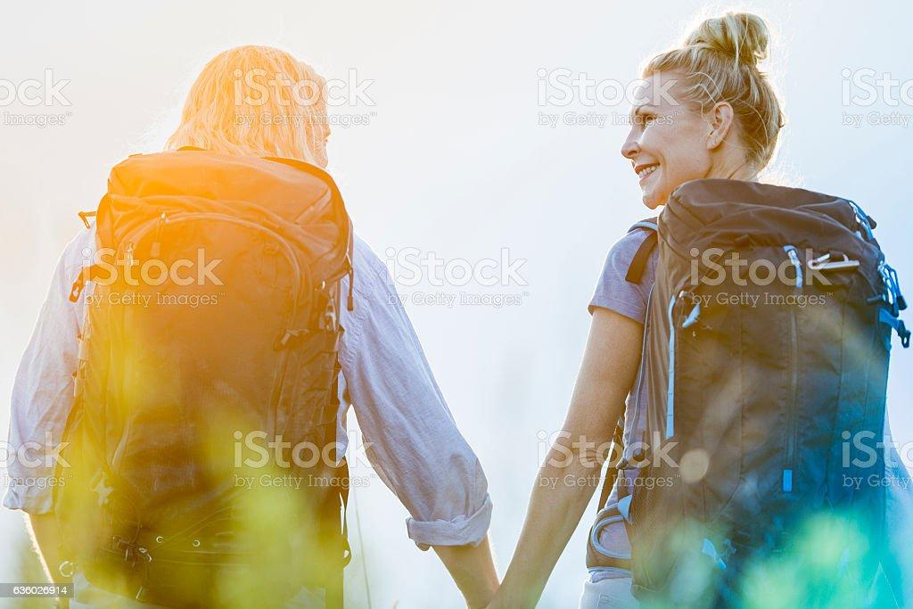 Hiking in the Setting Sun stock photo