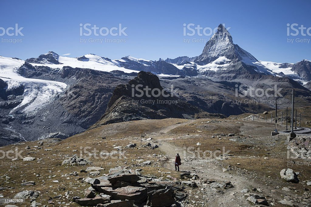 Hiking in the Swiss Alps stock photo