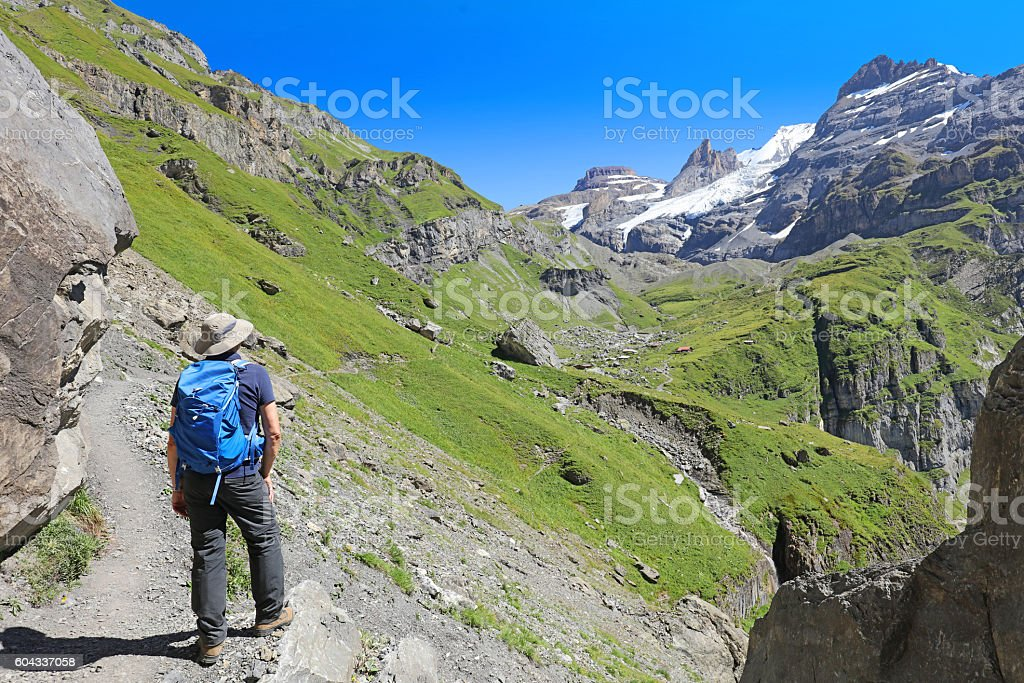 Hiking in the Swiss Mountains in Summer stock photo