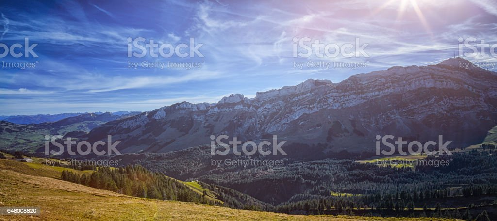 Hiking in the Swiss mountains on a beautiful sunny day stock photo